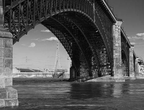Moonrise, Eads Bridge, Mississippi River Near Flood Stage, 2019