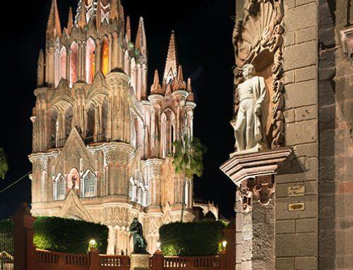 Statue of General Ignacio Allende, Parroquia de San Miguel Arcangel 3, Night, San Miguel de Allende, Mexico, 2018