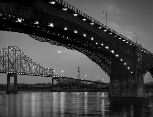 Moonrise, Eads and Martin Luther King Bridges, 1986