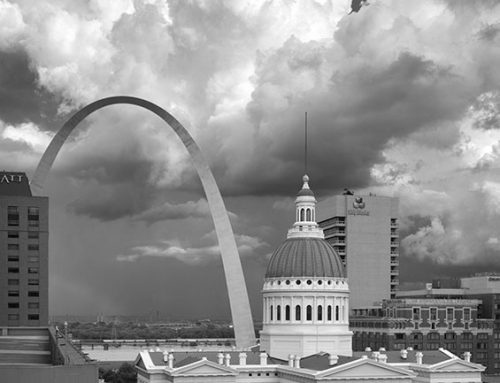 Arch and the Old Courthouse, Thunderstorm, Rainbow, 2020