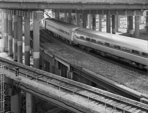 Amtrack Train, Approaches to the Poplar Street Bridge, 2020